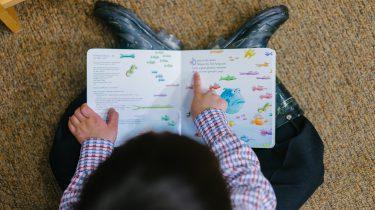 Een slim kind dat een boekje leest
