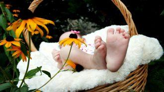 Een baby'tje in een mandje omgeven door lentebloemen met Pasen